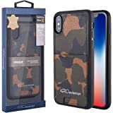 iPhone X Wallet Case, KASOworkshops Protective Wallet Cover Shockproof Genuine Leather case with Credit Card Holder Strap, Black Series Style For Apple iPhone 10 (Camo, iPhone X)