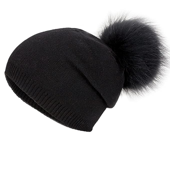 EVRFELAN Winter Raccoon Fur Pompom Hat Warm Thick Knit Skull Pure Color  Fashion Cashmere Blend Slouchy a13e030316c