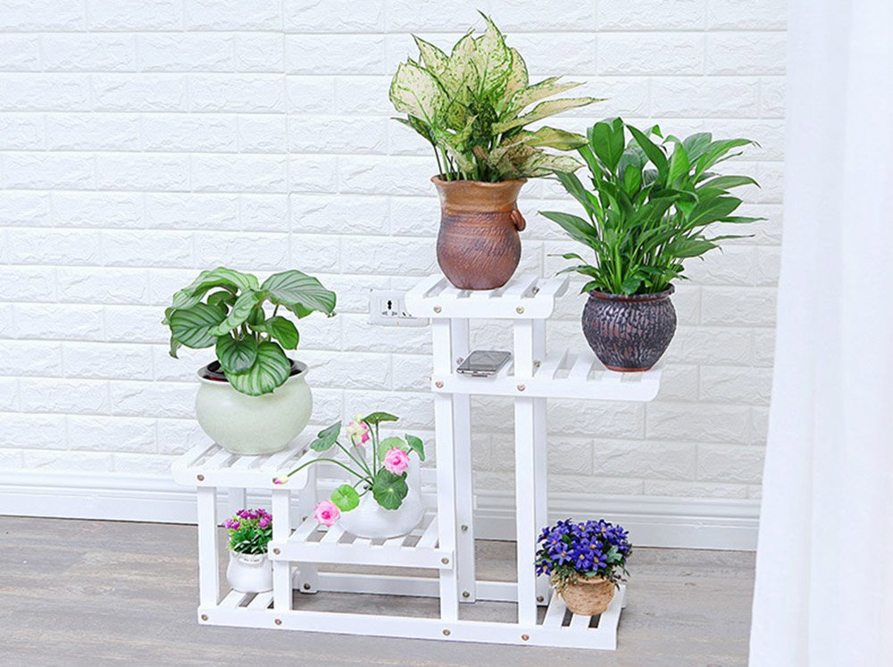ZPMZ- Solid Wood Floor Style Flower Rack Movable With Fence Outdoor Flower Rack ( Color : B )
