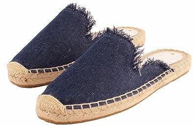 SimpleC Damen Solide Farbe Atmungsaktive Flache Espadrilles Hausschuhe Ausgefranste Kante Mule Schuhe