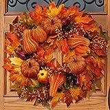 BESTTOYHOME Fall Door Wreath 24 inch - Large Autumn Door Wreath Harvest Wreath Autumn Silk Maple Leaves Wreath Garland…