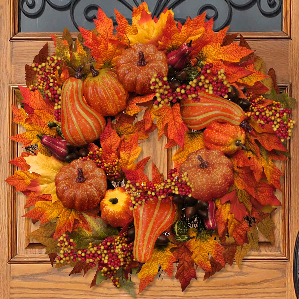 besttoyhome Fall Door Wreath 24 inch - Large Autumn Door Wreath Harvest Wreath Autumn Silk Maple Leaves Wreath Garland Attached Pumpkins, Acorns, Berries for Outdoor Display by besttoyhome