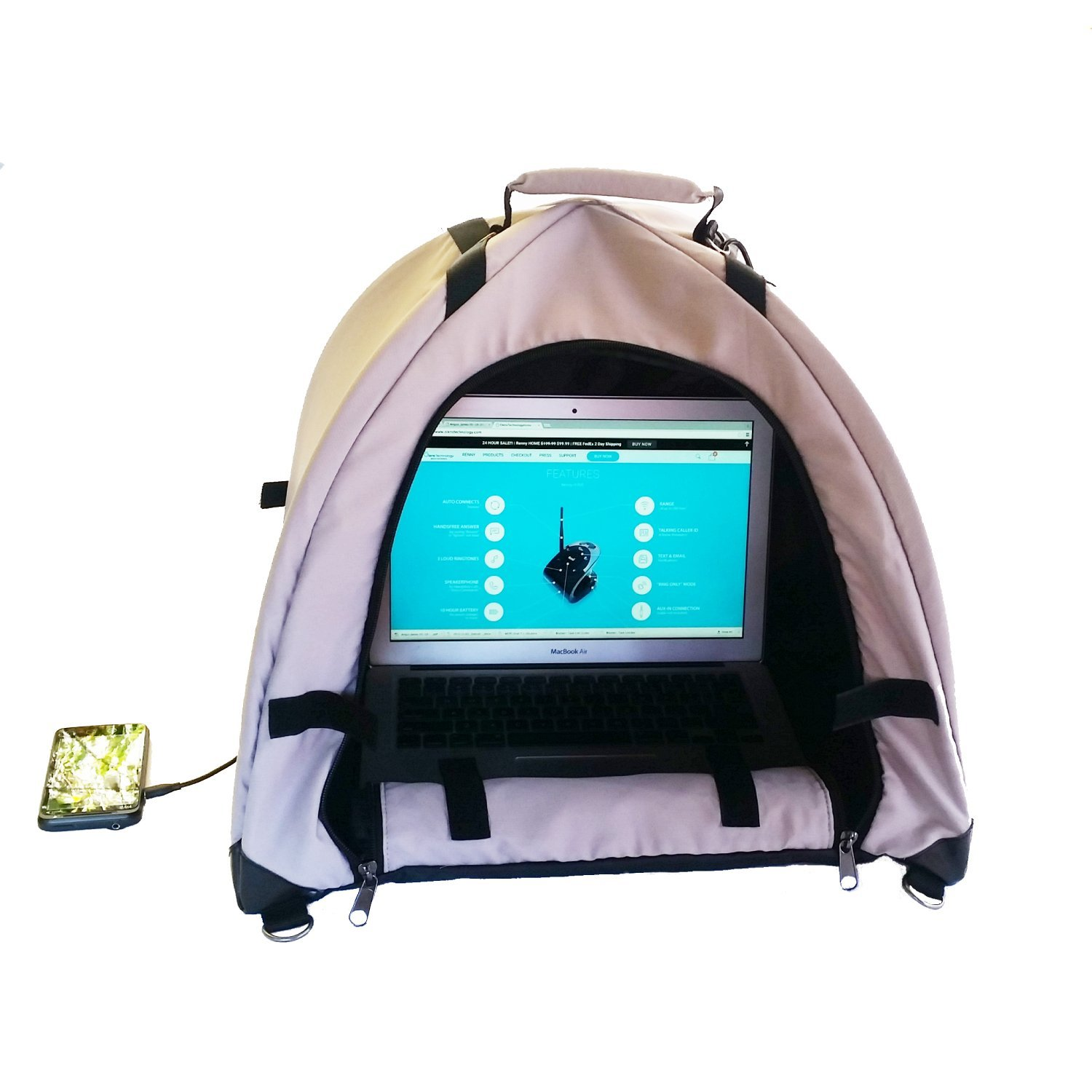 LapDome - Portable Sun Shade & Weather Protecting Carrying Case for Laptop / Tablet / Cell Phone by Olens Technology