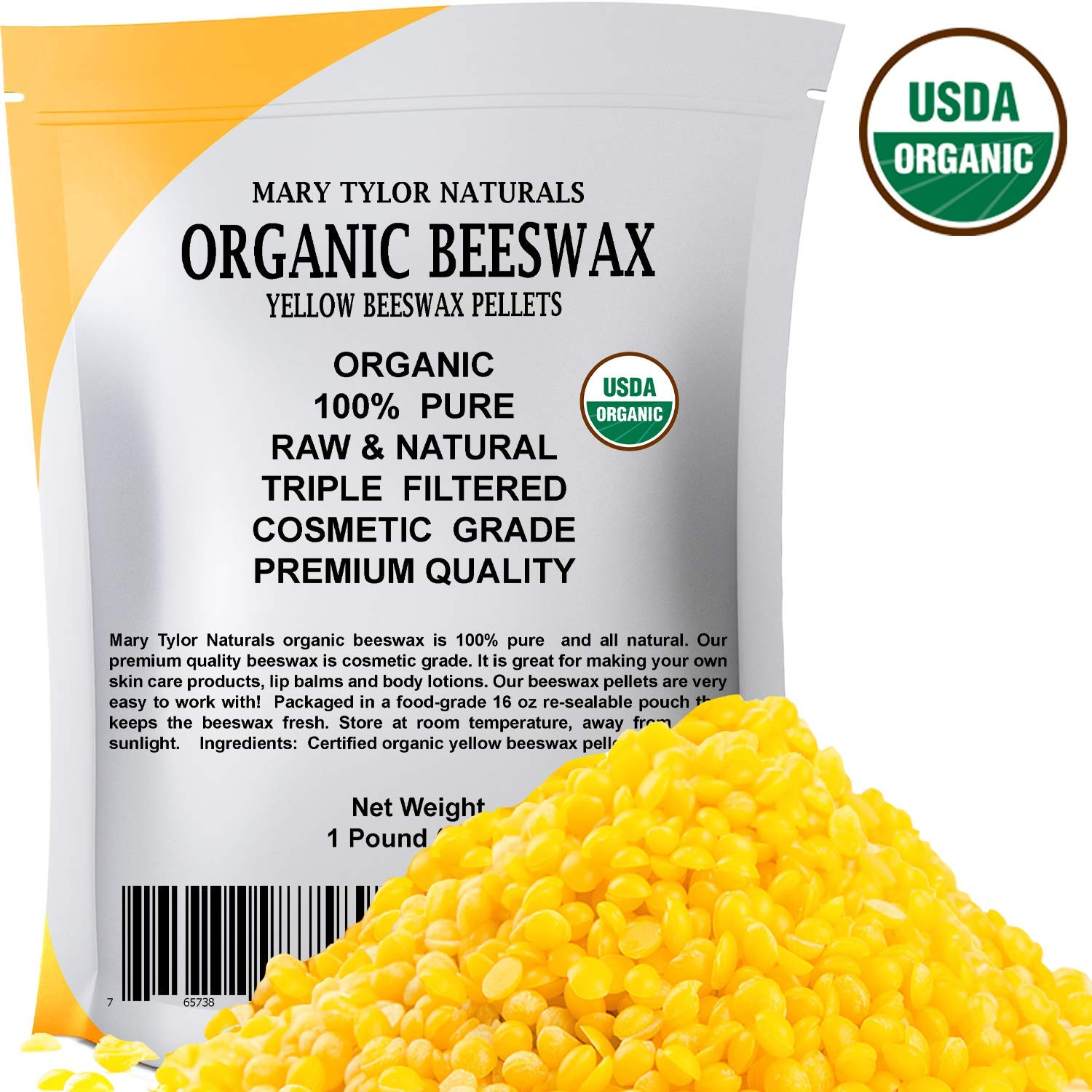 Certified Organic Yellow Beeswax Pellets 1lb by Mary Tylor Naturals, Premium Quality, Cosmetic Grade, Triple Filtered Bees Wax Pastilles Great for DIY Lip Balm Recipes Body Creams Lotions Deodorants by Mary Tylor Naturals