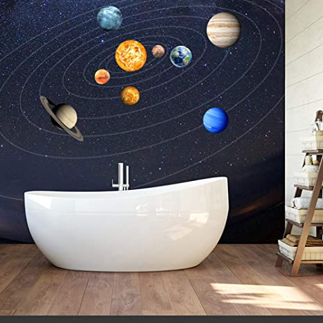 Kiorc Luminous Planets PVC Wall Stickers Glow in Dark Planets Bedroom Wall Decal Sticker 1