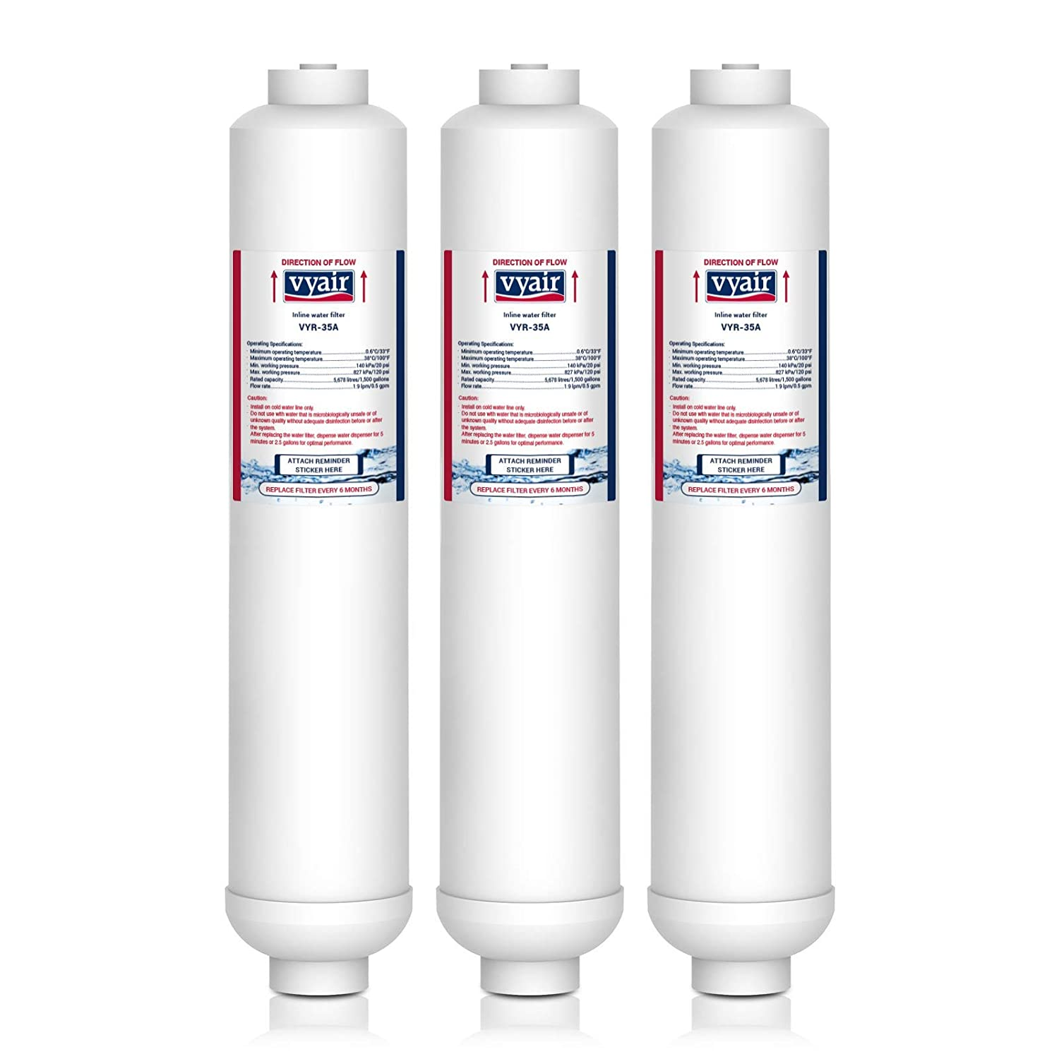 3 x VYAIR VYR-35A Ice & Water Refrigerator Filter to fit LG 3650JD8050A, 3890JC2990A, 5231JA2003B, 5231JA2010A, 5231JA2010B, 5231JA2010C, 5231JA2012A, BL-9303, BL-9808, Composition Filter, DA2010CB, K32010CB