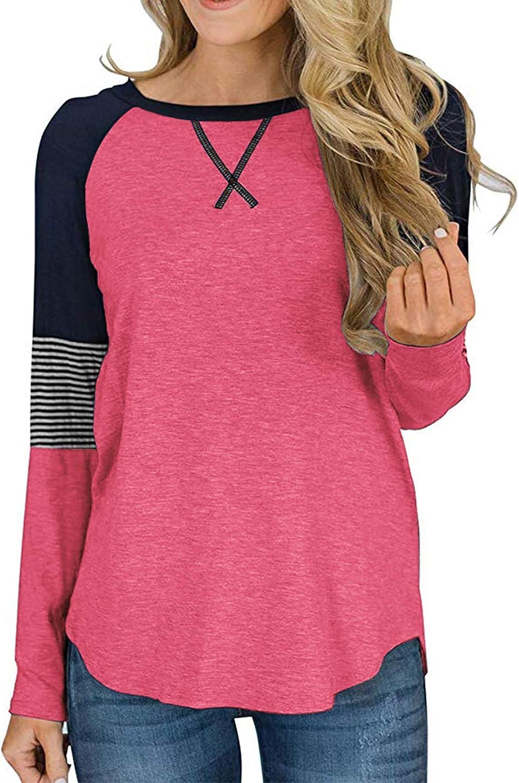 Adibosy Womens Tops Color Block Round Neck Tunic Raglan Shirts Long Sleeve Shirt Blouse