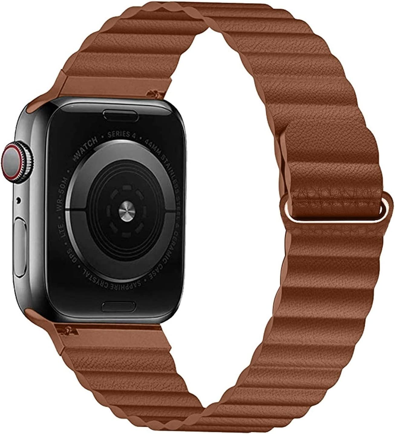 TryBEST PU Leather Loop Strap for Apple Watch Band 44mm 40mm Replacement for iWatch Series 6 5 4 3 2 watchbands Bracelet 42mm 38mm Wristband (Band Color : Saddle Brown, Band Width : 44mm 42mm)