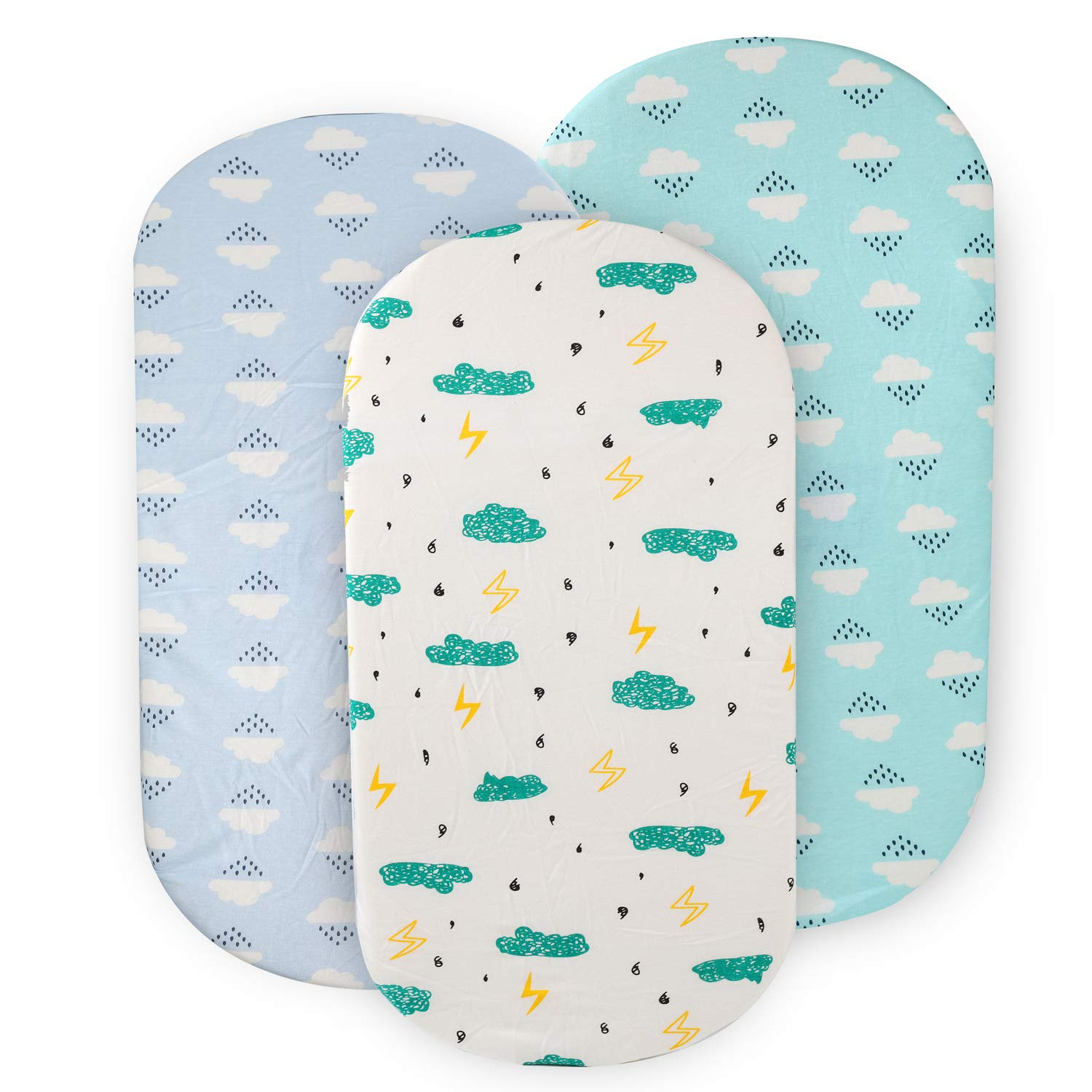 Bassinet Sheet Set 3 Pack 100% Jersey Cotton Super Soft for Baby Boy/Girl, Fitted Sheet for Oval, Rectangle or Hourglass Bassinet Mattress, Cloud and Raindrop Print, White Blue and Green