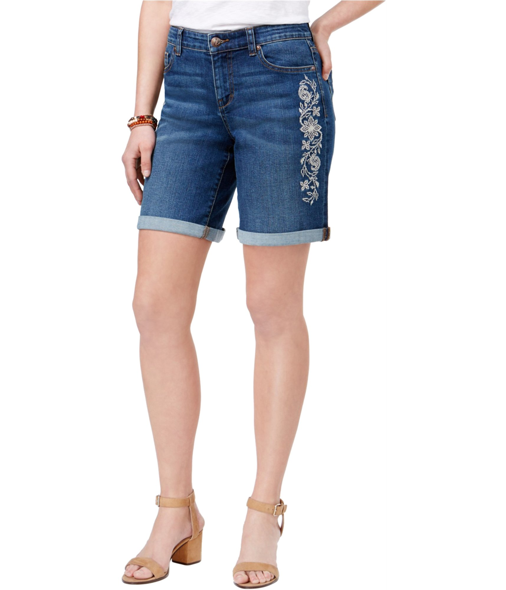 Style & Co. Womens Embroidered Dark Wash Denim Shorts Blue 12