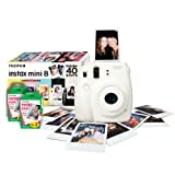 Instax Mini 8 Instant Camera Gift Bundle with 40 Shots - White (Discontinued by Manufacturer)