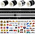 Amersumer 4 Rolls Road Tape 66 Ft, Black Toy Road Track Sticker Rolls, Toy Railroad Tape, Play Vehicle Supplies and Toy Birthday Gifts, 4 Packs Traffic Sign Stickers, Toy Car, Boat, Truck Stickers