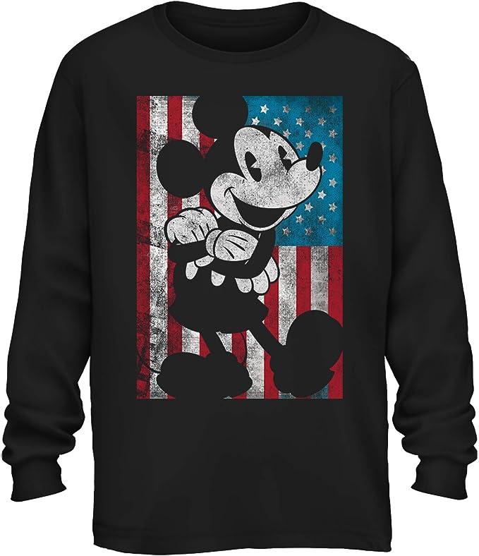 Disney Mickey Mouse American Flag Classic Vintage Retro Distressed America  Patriotic Graphic Men\u0027s Adult Long Sleeve Shirt