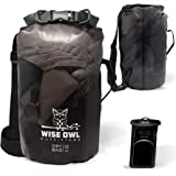 Wise Owl Outfitters Dry Bag - Thick Durable Waterproof Bags - Fully Submersible See Through Roll Top Drybag Great for Kayaks