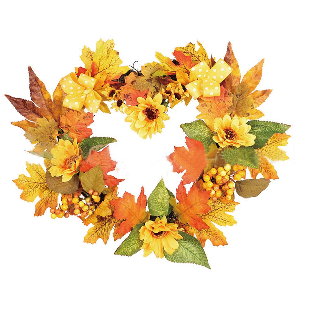 Vovomay 30×40cm Heart-Shaped Sunflower Wreath, Wall Ornament Christmas Thanksgiving Decoration,Garland Home Office Wedding