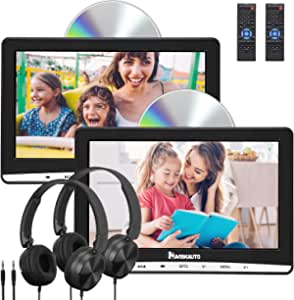 """NAVISKAUTO Upgraded 10.1"""" Dual Car DVD Players with 2 Headphones Support AV Out & in Last Memory Region Free Digital Multimedia Rear-seat Entertainment System(2 Same Headrest DVD Players)"""