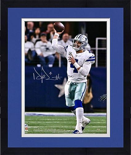 "8b55e6c254d Framed Dak Prescott Dallas Cowboys Autographed 16"" x 20"" White  Throwing Photograph - Fanatics"