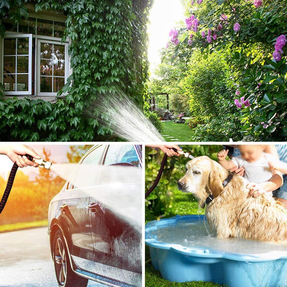 Worth Flexibler Gartenschlauch Ausgedehnt Bis 7,5m//25FT Flexischlauch Wasserschlauch mit 10 Multifunktion Brause Messing Adapter zur Bew/ässerung und Reinigung