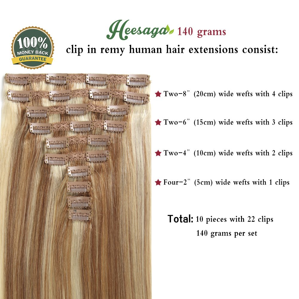 Amazon Heesaga Clip In Real Human Hair Extensions 18 Inch 140