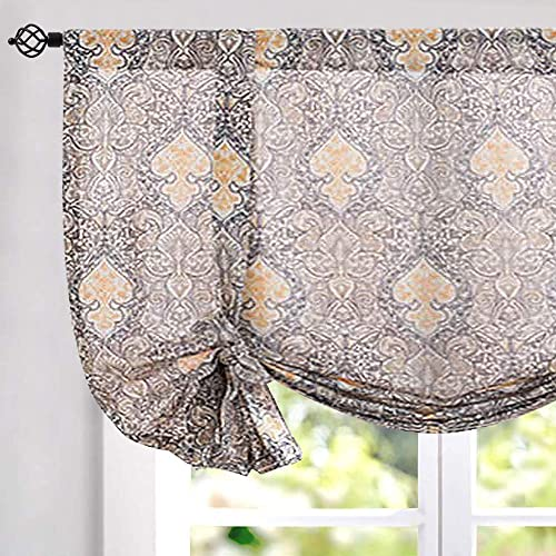 jinchan Burlap Tie Up Curtains Damask Printed Paisly Rod Pocket Drapes Multicolor Medallion Flax Living Room s Window Curtain 1 Panel 54 Grey