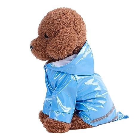 INTERNET Ropa para Perros, Perro Impermeable Impermeable con Capucha para Mascotas (L, Azul