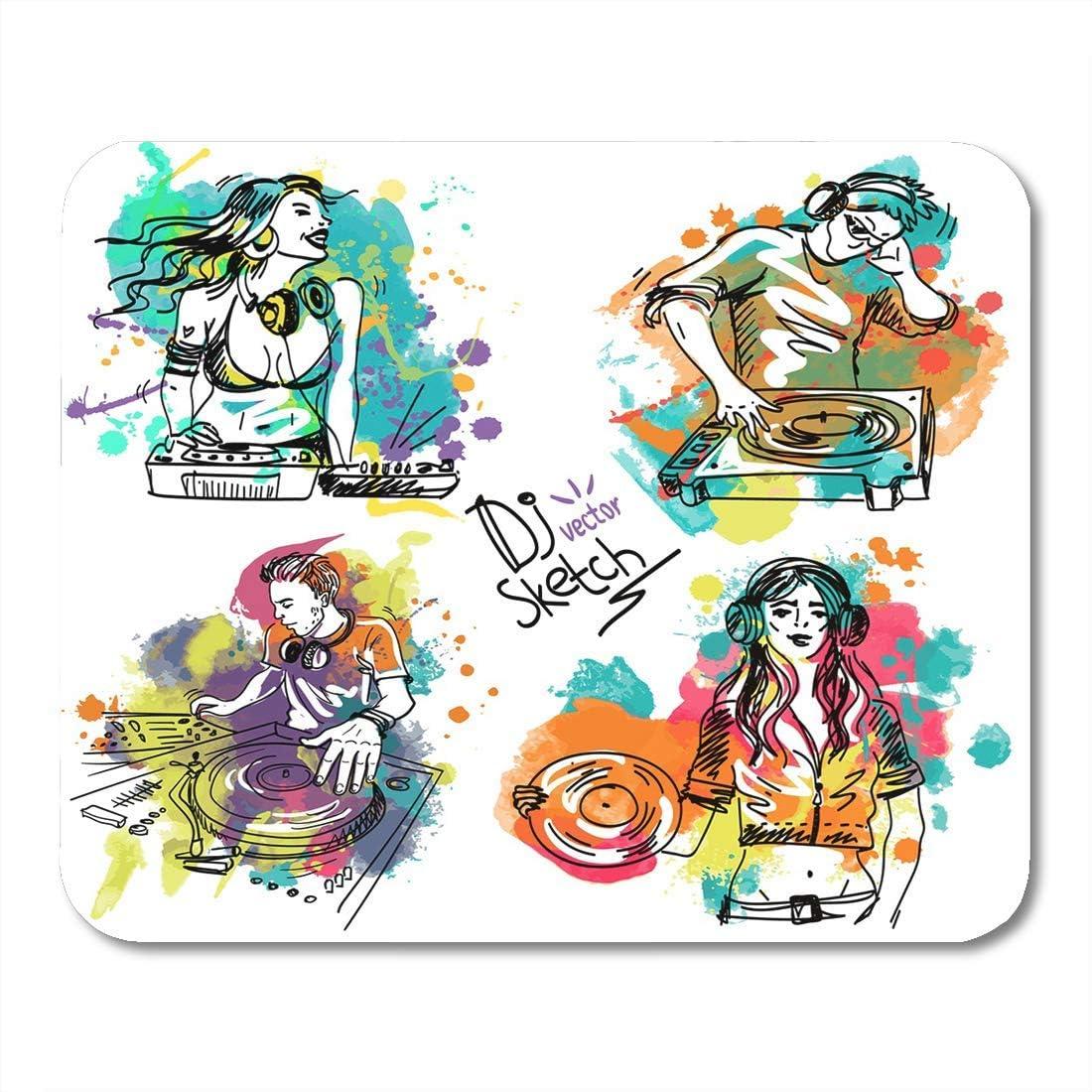 Mouse Pads Boceto colorido con el DJ y el tocadiscos en blots de ...