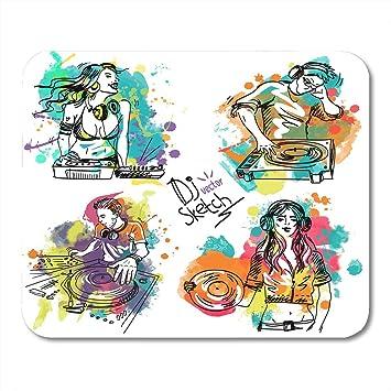 Mouse Pads Boceto colorido con el DJ y el tocadiscos en ...