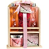 Home Spa Gift Basket - Deluxe Cherry Blossom Fragrance - Luxury Bath & Body Set For Women - Contains Shower Gel, Bubble Bath,