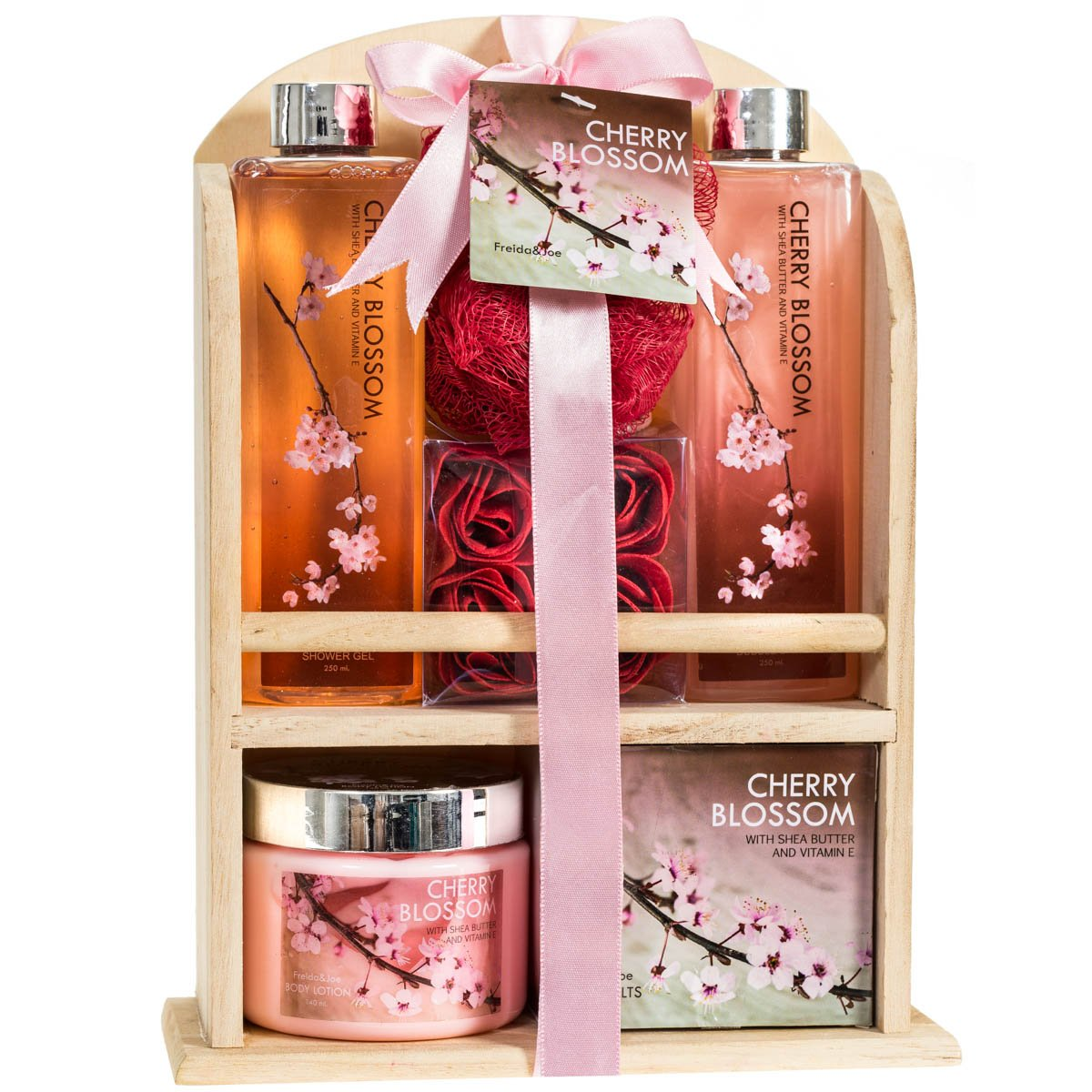 Deluxe Cherry Blossom Relaxing Spa Gift Basket For Women: Indulge Bath Gift Set Home Spa Package With Shower Gel, Bubble Bath, Bath Salts, Body Lotion, Bath Puff, Pink Bath Rose Soaps In Wooden Curio by Freida Joe