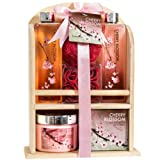 Amazon Price History for:Cherry Blossom Bathroom Spa Gift Set: Spring Clean Your Senses with Shower Gel, Bubble Bath, Bath Salts, Body Lotion, Bath Puff, and Rose Soaps Packed with Traditional Wooden Shelf Storage