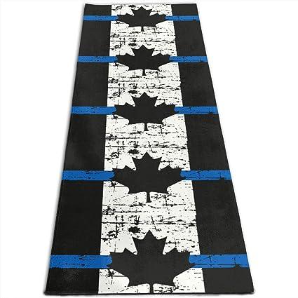 Amazon.com: Canada Thin Blue Line Flag Printed Yoga Mat ...