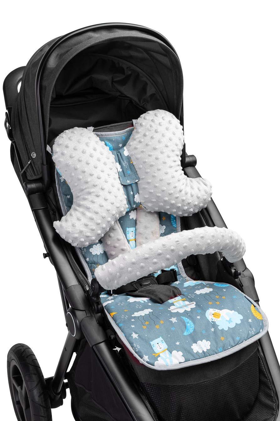 Kinder-Sitzauflage Kinderwagen Minky Kindersitzauflage weiche Auflage Wendeauflage 2-seitig Babysitz Buggy inkl Kopfkissen Schmetterling G/ürtelpolster Igel rosa