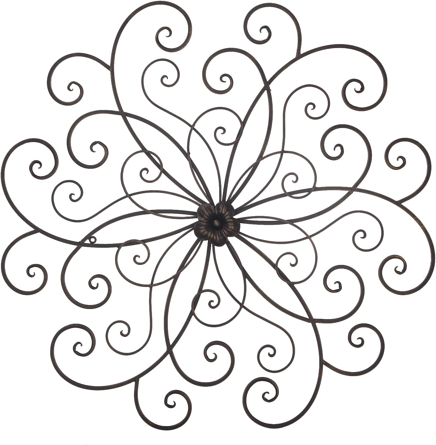 Adeco Bronze Flower Urban Design Metal Wall Decor for Nature Home Art Decoration & Kitchen Gifts - 30x29.7 Inches