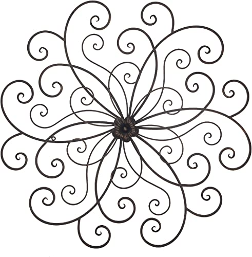 Adeco Bronze Flower Urban Design Metal Wall Decor for Nature Home Art Decoration Kitchen Gifts – 30×29.7 Inches