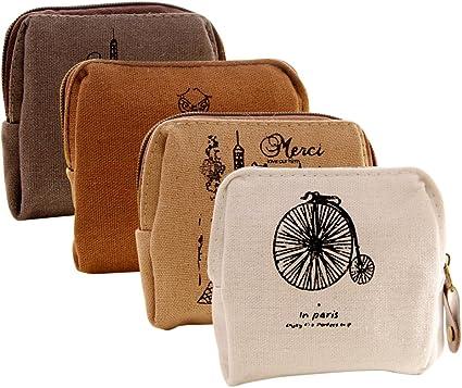 Canvas Cash Coin Purse,Colored Squares Print Make Up Bag Zipper Small Purse Wallets