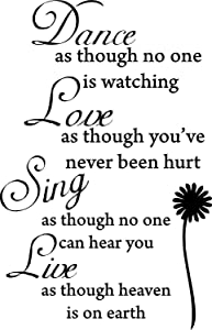 Dance Love Sing Live Wall Quotes Decal Removable Stickers Decor Vinyl Art Black22'' X 34''