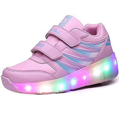 Kinder Schuhe mit Rollen Skateboard Schuhe Kinder mit Rollen Wheels Schuhe Skateboardschuhe Sneakers Turnschuhe Laufschuhe Sportschuhe mit Rollen für Mädchen Jungen Rosa 36 HWxLN8