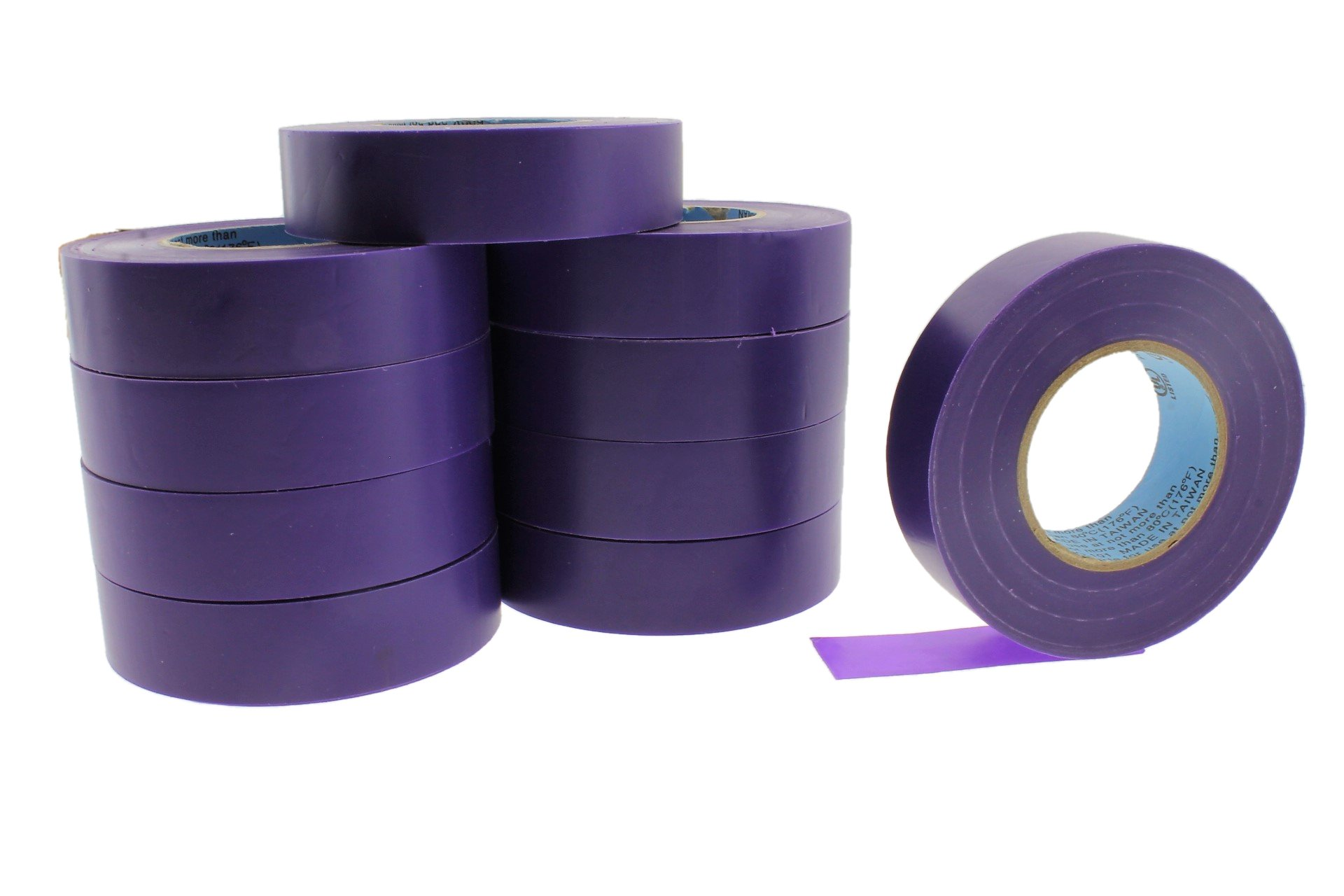 10pk 3/4'' PURPLE Electrical Tape Supreme Durable .75 Pro-Grade Wire harness PVC Vinyl Marking Labeling Coding Warning Safety Flame Retardant 60' 7 mil