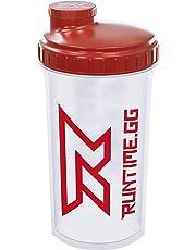 Runtime Shaker pour protéines | Gourde Sport pour la nutrition et le fitness | Contenance 700 ml | avec tamis - 100% hermétique | sans bisphénol A - avec échelle de mesure (Red Transparent)