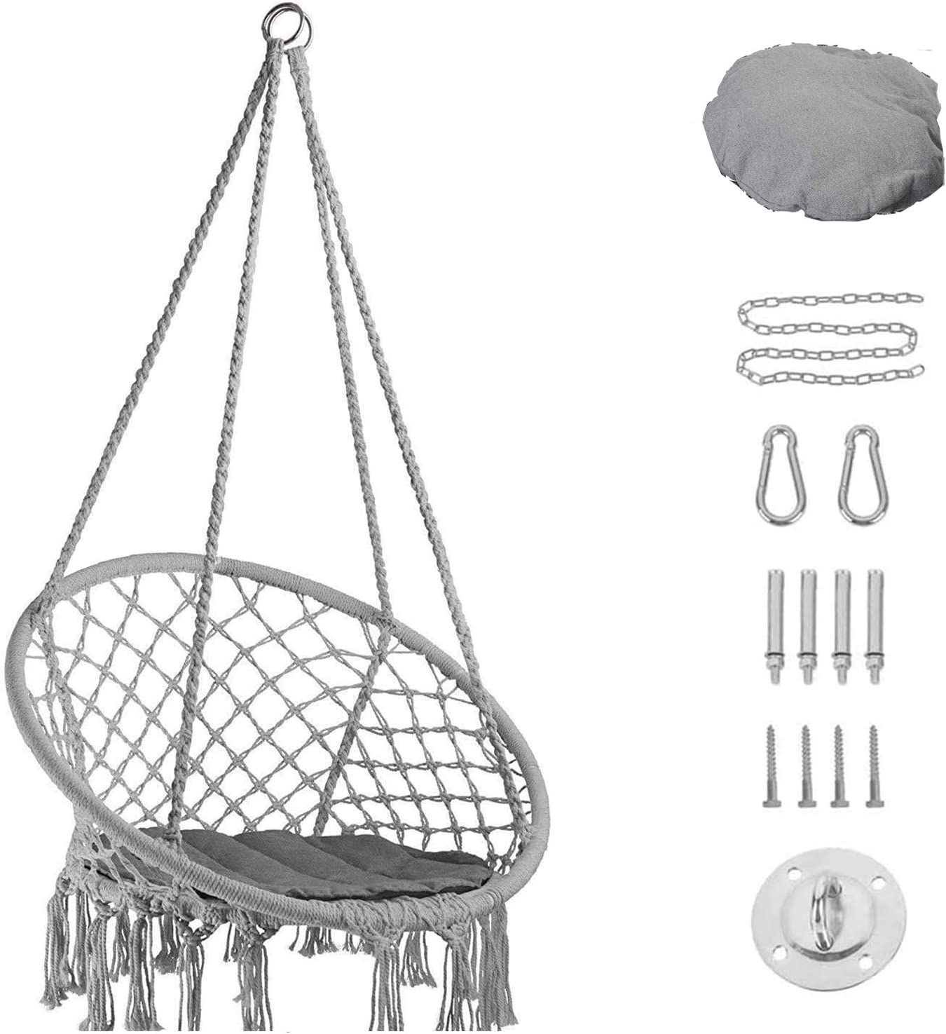 CHOiES record your inspired fashion Hammock Chair Hanging Hardware Kit and Cussion, 330 Pound Capacity,Mesh Cotton Rope Macrame Swing for Bedroom, Outdoors, Garden, Patio, Yard. Child, Girl, Adult
