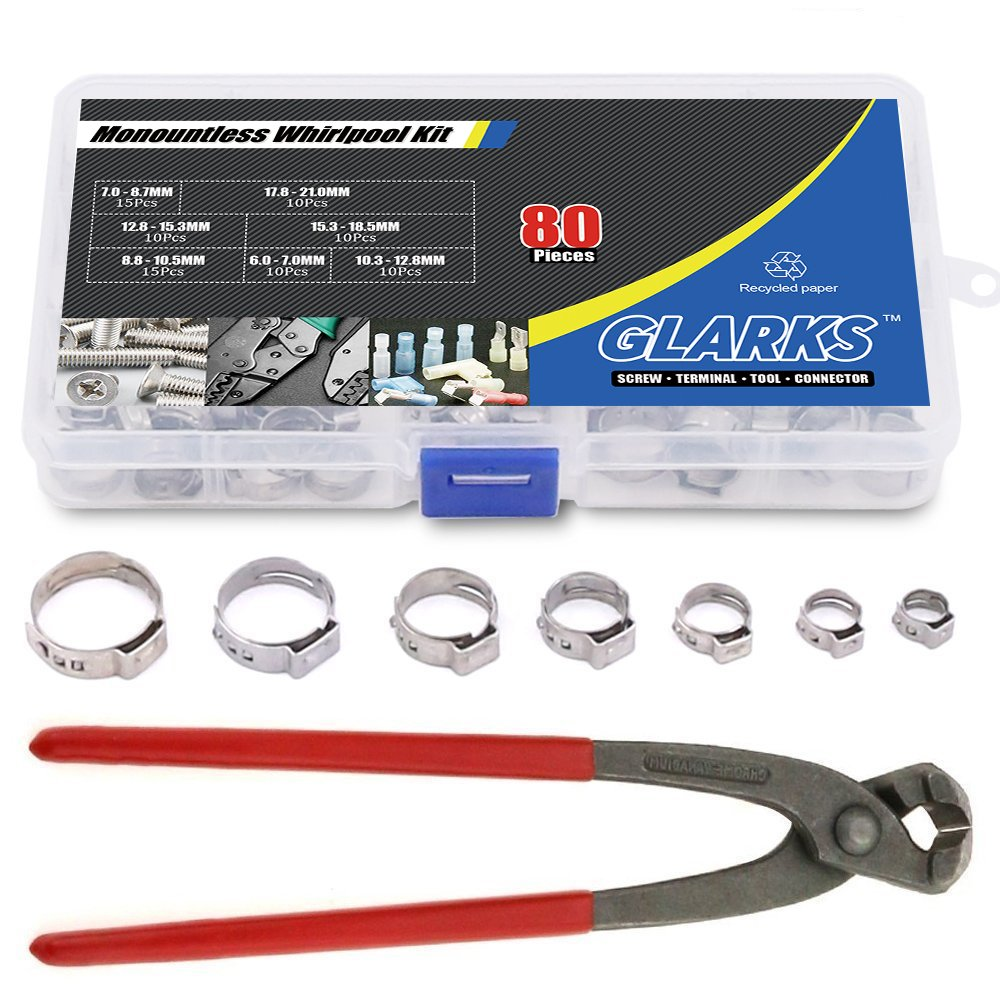 Glarks 80Pcs 7-21mm 304 Stainless Steel Single Ear Stepless Hose Clamps with Pincers Kit by Glarks