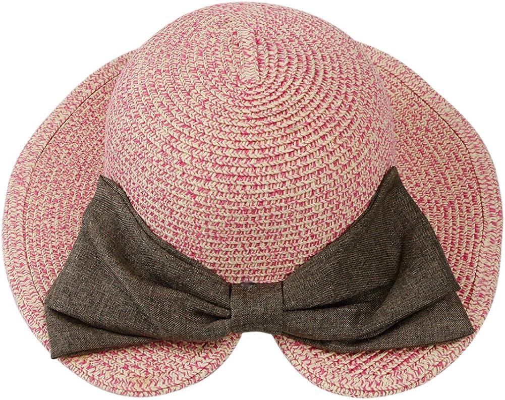 Evelin LEE Girl Kids Summer Wide Brim Floppy Beach Sun Visor Straw Hat Bowknot