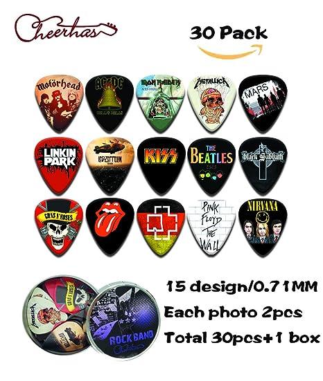 cheerhas 30pcs Guitarra púas diferentes banda colección de doble cara impresión en color mejor celuloide púas