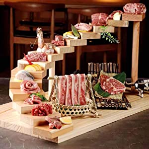 ZZFF Restaurant Large Wood Serving Tray,Rotating Step Shape Meat Plate,Japanese Sushi Dishes,Wooden Food Stand Rack for Roast Wedding Party Cheese Board Rectangle-Large 15 Steps 70x40cm(28x16inch)