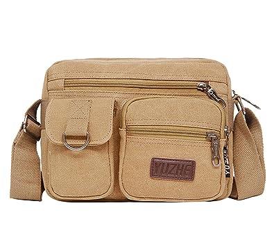 9717ac87253 Degohome Canvas Crossbody Shoulder Messenger Bag iPad Travel Portfolio Bag  for Men   Women (khaki