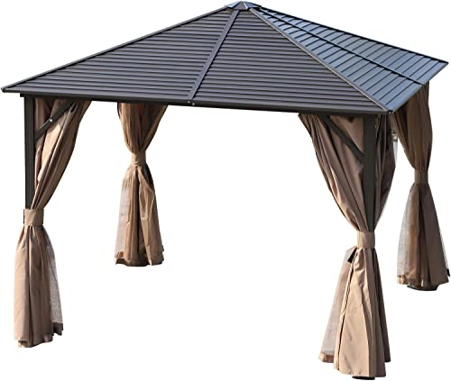 Outsunny 10 x 10 Steel Hardtop Gazebo with Mosquito Netting and Curtains- Brown Black