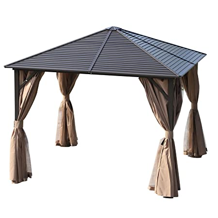 Outsunny 10 x 10 Steel Backyard Garden Hardtop Gazebo with Mosquito Netting and Curtains- Brown Black