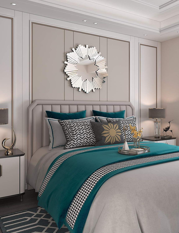 Sun Wall Mirror-Starburst Accent Wall Mounted Mirror for Decor Livingroom Bedroom: Furniture & Decor
