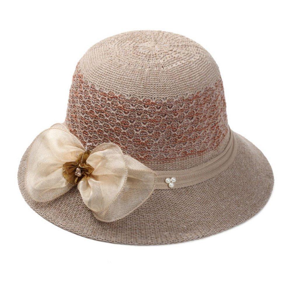 ink2055 Women Spring Summer Sun Hat Flower Floral Cocktail Party Travel Hat Cap