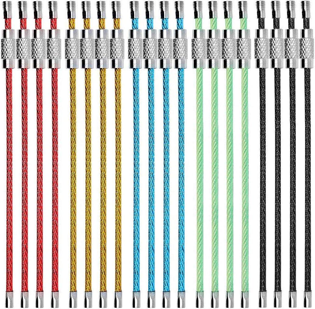 Alambre Llaveros Cable, Llavero 2mm Cable Loops Engranaje de Acero Inoxidable para Colgar Etiqueta de Equipaje, llaveros y Guardianes de Etiquetas de identificación 20pcs